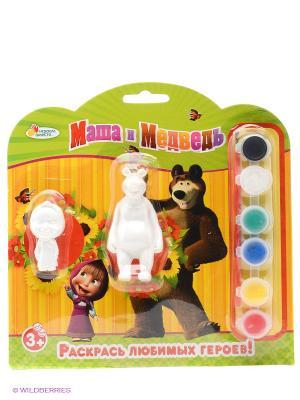 Набор-раскраска 2 фигурки Маша и медведь Играем вместе. Цвет: желтый