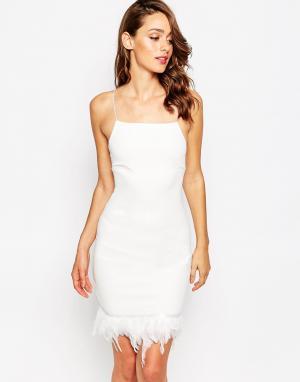 Sistaglam Платье с отделкой перьями по краю Fleur. Цвет: белый