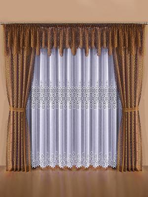 Комплект штор Wisan. Цвет: коричневый, белый