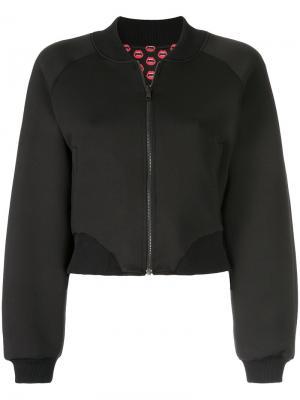 Укороченная куртка-бомбер с принтом Yazbukey. Цвет: чёрный