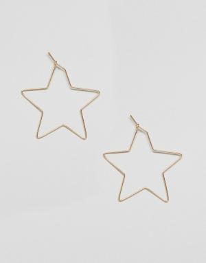 ASOS Серьги со звездами. Цвет: золотой