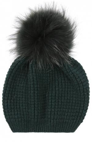 Кашемировая шапка с помпоном из меха енота Kashja` Cashmere. Цвет: темно-зеленый