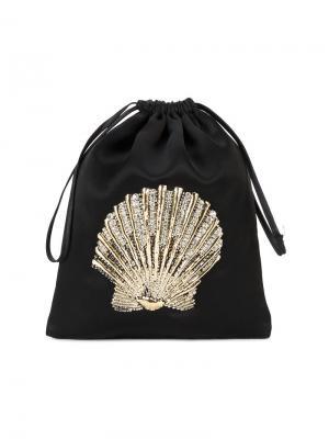 Декорированная сумка с вышивкой морской раковины Attico. Цвет: чёрный
