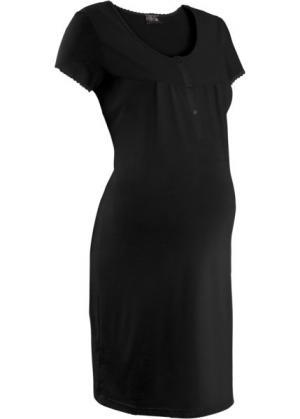 Ночная рубашка для беременных (черный) bonprix. Цвет: черный