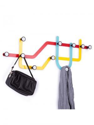 Вешалка Subway разноцветная Umbra. Цвет: голубой, красный, желтый