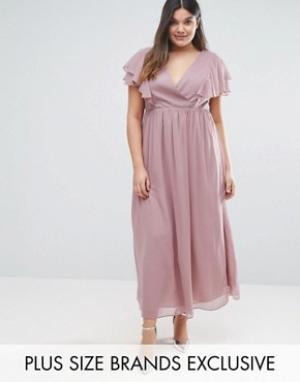 Truly You Шифоновое платье макси с оборками. Цвет: розовый