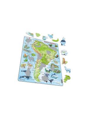 Пазл Животные Южной Америки (Русский) LARSEN AS. Цвет: голубой, белый, оранжевый, желтый, синий, зеленый