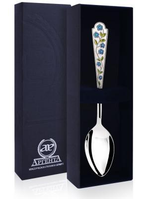 Ложка чайная Лето Василек с эмалью +футляр АргентА. Цвет: серебристый