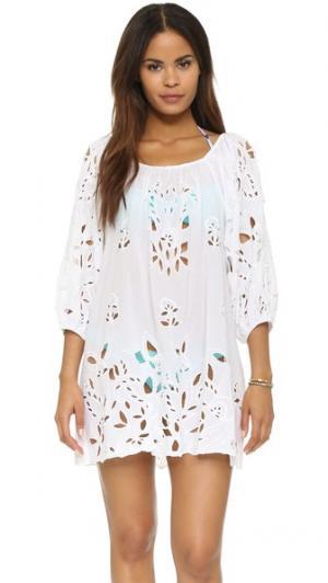 Кружевное пляжное платье Juliet Dunn. Цвет: белый