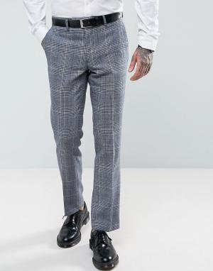 Harry Brown Облегающие брюки в клетку. Цвет: синий