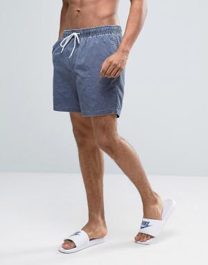 ASOS Темно-синие шорты для плавания средней длины с эффектом кислотной стир. Цвет: темно-синий