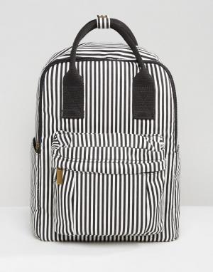 QUPID Полосатый рюкзак с передним карманом. Цвет: черный