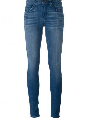 Выбеленные джинсы кроя скинни Current/Elliott. Цвет: синий