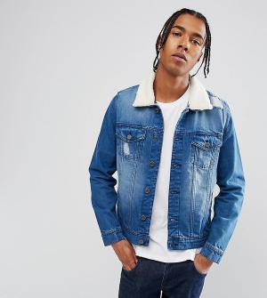 Brooklyn Supply Co. Выбеленная джинсовая куртка с искусственным мехом Co. Цвет: синий
