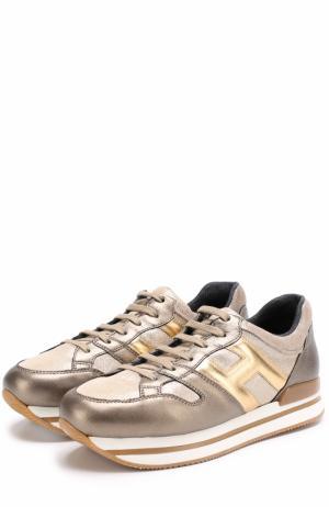 Кожаные кроссовки с металлизированной отделкой на толстой подошве Hogan. Цвет: золотой