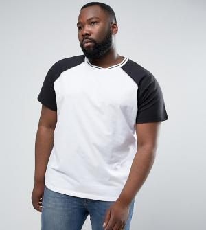 Another Influence Бейсбольная футболка с рукавами реглан PLUS. Цвет: темно-синий