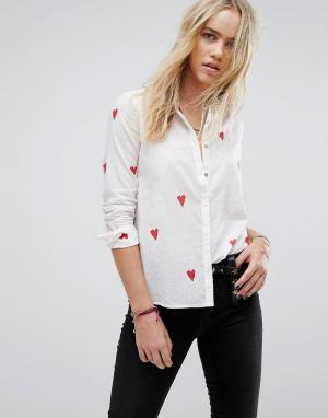 Maison Scotch Рубашка с принтом сердечек. Цвет: белый