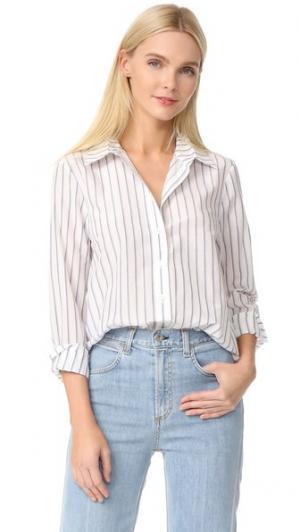 Рубашка в мужском стиле Jenni Kayne. Цвет: цвет слоновой кости/синий