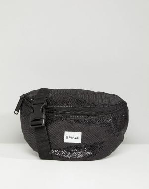Spiral Черная сумка-кошелек на пояс с блестками. Цвет: черный