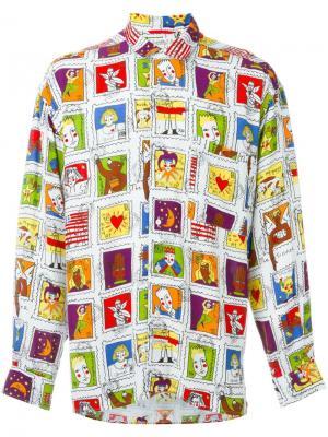 Рубашка с принтом марок Jc De Castelbajac Vintage. Цвет: белый