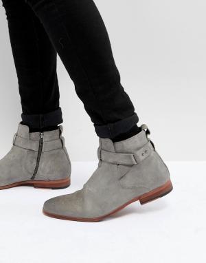 ASOS Серые замшевые ботинки челси с ремешком. Цвет: серый
