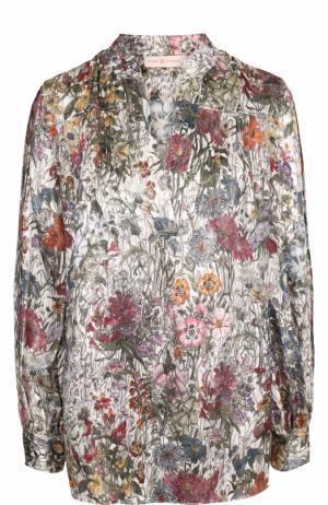 Шелковая блуза свободного кроя с принтом Tory Burch. Цвет: разноцветный