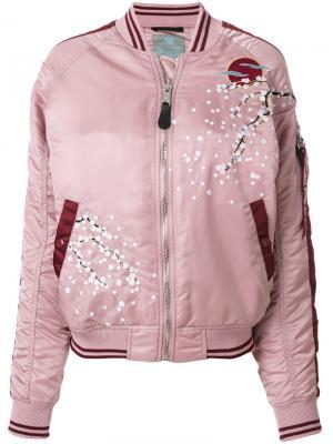 Куртка-бомбер с цветущей сакурой Alpha Industries. Цвет: розовый и фиолетовый