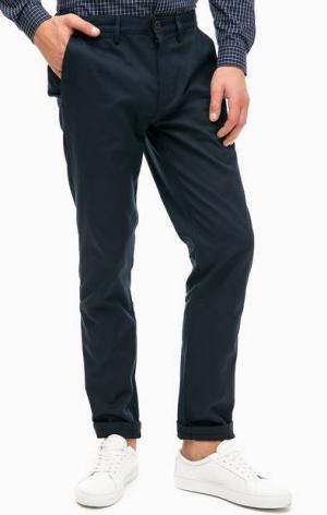Зауженные синие брюки из хлопка Fred Perry. Цвет: синий