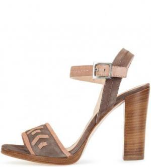 Замшевые босоножки на устойчивом каблуке UNISA. Цвет: серый
