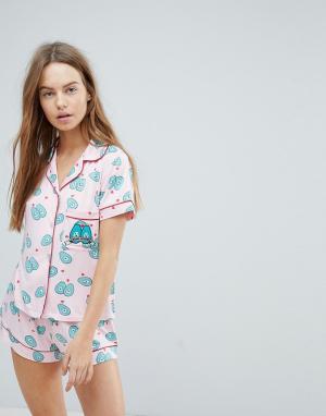 Chelsea Peers Пижама с шортами и принтом авокадо. Цвет: красный
