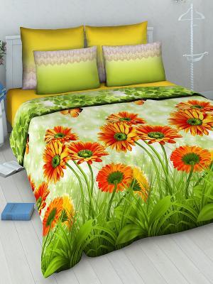 Комплект постельного белья Василиса. Цвет: зеленый, оранжевый, желтый