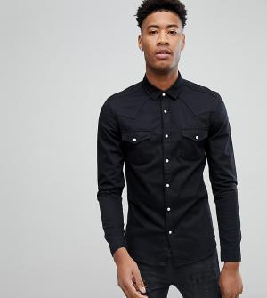ASOS Черная джинсовая рубашка зауженного кроя в стиле вестерн TALL. Цвет: черный
