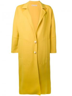Пальто под пояс в форме кокона Marni. Цвет: жёлтый и оранжевый