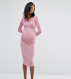 Missguided Maternity Облегающее платье для беременных с запахом спереди Maternit. Цвет: фиолетовый