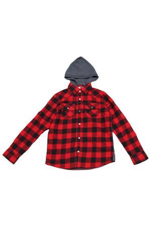 Рубашка с капюшоном Dodipetto. Цвет: серый, красный, черный