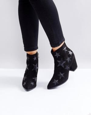London Rebel Ботильоны на каблуке со звездами. Цвет: черный