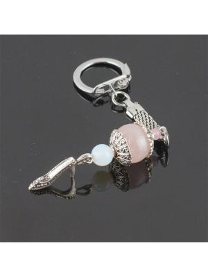 Брелок Стильная штучка розовый кварц, лунный камень Револю. Цвет: розовый