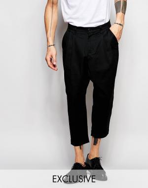 Black Eye Rags Укороченные брюки с заниженным шаговым швом. Цвет: черный