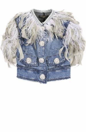 Джинсовый жилет с перьевой отделкой Dolce & Gabbana. Цвет: голубой