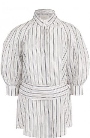 Блуза из смеси льна и шелка с поясом Zimmermann. Цвет: голубой