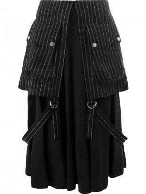 Многослойная юбка в полоску Aalto. Цвет: чёрный