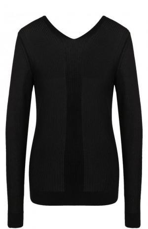 Пуловер фактурной вязки с V-образным вырезом Maison Margiela. Цвет: черный