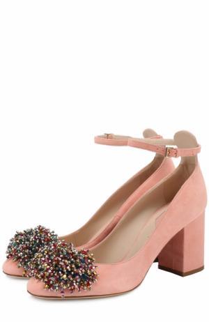 Замшевые туфли с кристаллами Elie Saab. Цвет: розовый