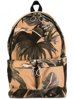 Рюкзак с принтом пальм Off-White. Цвет: телесный