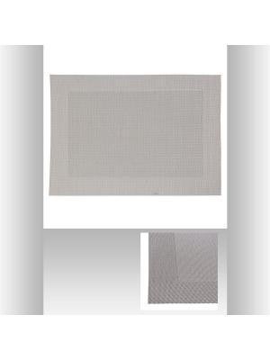 Салфетка под тарелку, ПВХ/ПЭ 50х35 см JJA. Цвет: серый