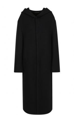 Шерстяное пальто прямого кроя с капюшоном Yohji Yamamoto. Цвет: черный