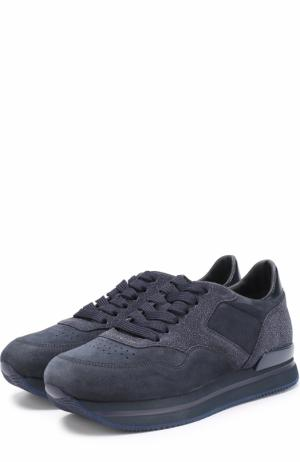 Замшевые кроссовки на шнуровке Hogan. Цвет: синий