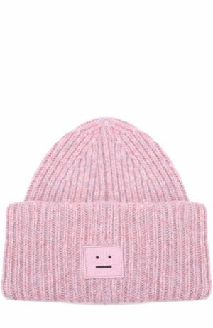 Шерстяная шапка фактурной вязки Acne Studios. Цвет: розовый