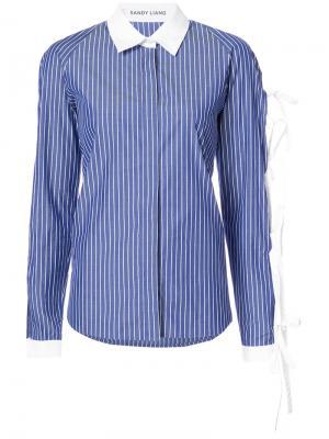 Рубашка с завязками на рукавах Sandy Liang. Цвет: синий