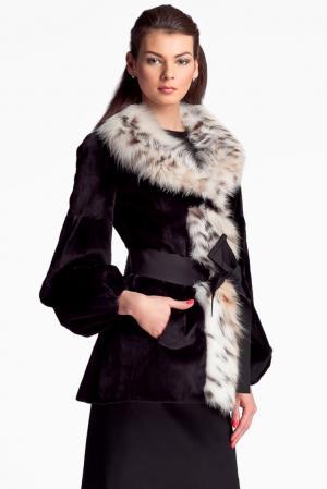 Норковая шуба с отделкой из меха рыси и поясом 112469 Igor Gulyaev. Цвет: черный